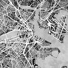 Boston Massachusetts Street Map by Michael Tompsett