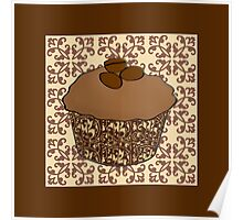 Mocha Frosted Cupcake, Lace Background Poster