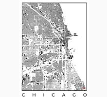 Chicago Map Schwarzplan Only Buildings Urban Plan Unisex T-Shirt