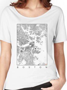 Boston Map Schwarzplan Only Buildings Urban Plan Women's Relaxed Fit T-Shirt