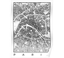 Paris Map Schwarzplan Only Buildings Urban Plan Poster