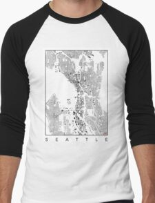 Seattle Map Schwarzplan Only Buildings Urban Plan Men's Baseball ¾ T-Shirt