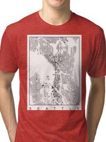 Seattle Map Schwarzplan Only Buildings Urban Plan Tri-blend T-Shirt