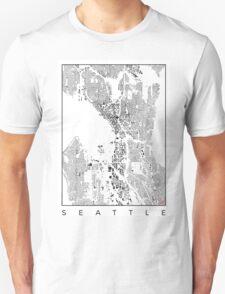 Seattle Map Schwarzplan Only Buildings Urban Plan Unisex T-Shirt