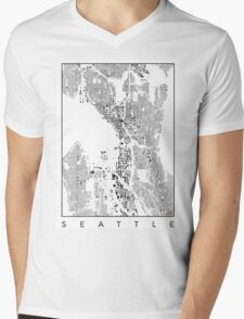 Seattle Map Schwarzplan Only Buildings Urban Plan Mens V-Neck T-Shirt
