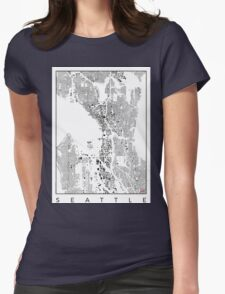 Seattle Map Schwarzplan Only Buildings Urban Plan Womens Fitted T-Shirt