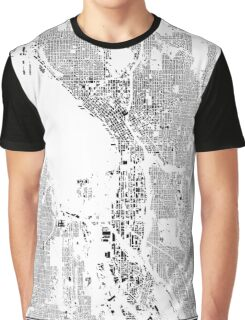 Seattle Map Schwarzplan Only Buildings Urban Plan Graphic T-Shirt