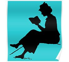 Reading outdoors: late Victorian - era silhouette of woman with book Poster
