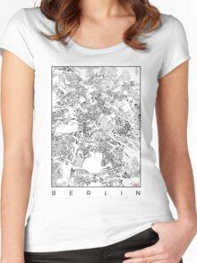 Berlin Map Schwarzplan Only Buildings Urban Plan Women's Fitted Scoop T-Shirt