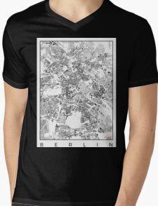 Berlin Map Schwarzplan Only Buildings Urban Plan Mens V-Neck T-Shirt