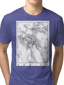 Zurich Map Schwarzplan Only Buildings Urban Plan Tri-blend T-Shirt