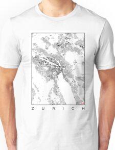 Zurich Map Schwarzplan Only Buildings Urban Plan Unisex T-Shirt