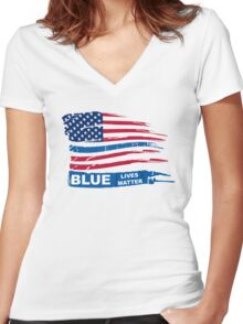 Blue Live Matter Flag Distressed Women's Fitted V-Neck T-Shirt