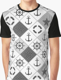 Seamless nautical pattern with sea theme elements background Graphic T-Shirt