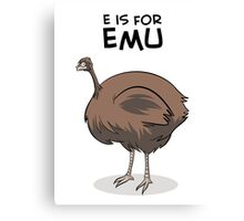E is for Emu Canvas Print