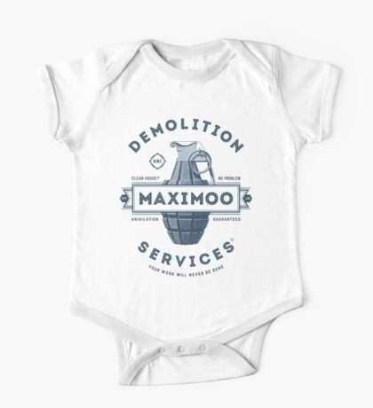 Maximoo Demolition Services [Muted Blue Mono] One Piece - Short Sleeve