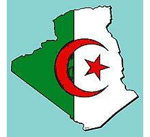 Algeria Map With Algerian Flag Photographic Print