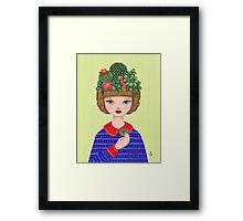 Cacti - girl with a Cacti garden Framed Print
