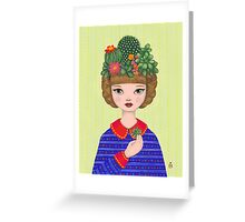 Cacti - girl with a Cacti garden Greeting Card