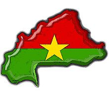 Burkina Faso Map With Flag of Burkina Faso Photographic Print