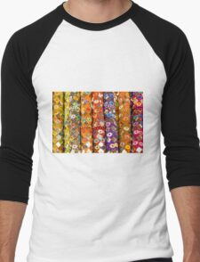 Colourful floral seemless background Men's Baseball ¾ T-Shirt