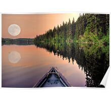 View from a Canoe of a Super Moon Poster