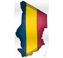 Chad Map With Flag of Chad Poster
