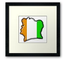 Cote d'Ivoire Ivory Coast Map With Flag Framed Print