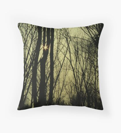 Dark Forest Sun Throw Pillow