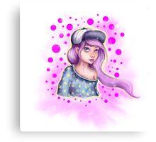 Skater Girl - Polkadot Pink Canvas Print
