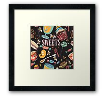Hand drawn pattern. Sweets. Framed Print