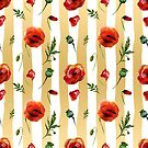 Gold & White Stripes With Red Poppies Flowers Pattern by artonwear