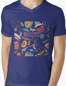Hand drawn pattern. Sweets. Mens V-Neck T-Shirt