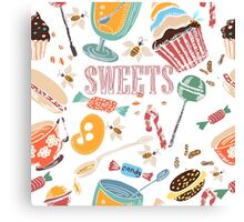 Hand drawn pattern. Sweets. Canvas Print