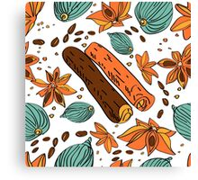 pattern with cinnamon, cardamom, coffee . Canvas Print