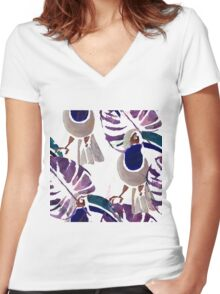 Hand drawn watercolor seamless pattern of tropical birds.  Women's Fitted V-Neck T-Shirt