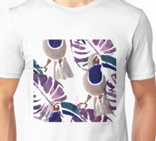 Hand drawn watercolor seamless pattern of tropical birds.  Unisex T-Shirt