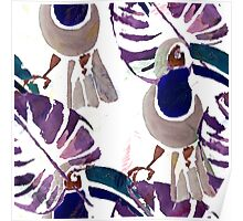 Hand drawn watercolor seamless pattern of tropical birds.  Poster