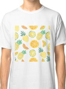 Fruits pattern with pine apple, palm leaves.  Classic T-Shirt