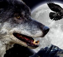 Leadership Grey Wolf and Raven Artwork Sticker