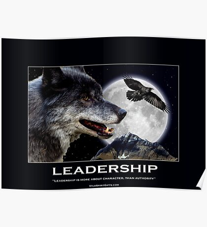 Leadership Grey Wolf and Raven Artwork Poster