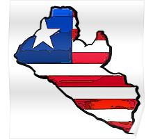 Liberia Map With Liberian Flag Poster