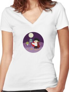 Tiny Dracula  Women's Fitted V-Neck T-Shirt