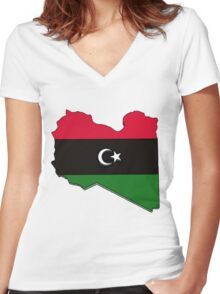 Libya Map With Libyan Flag Women's Fitted V-Neck T-Shirt