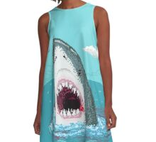 Pixelart shark A-Line Dress