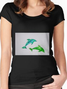 Dolphins in green Women's Fitted Scoop T-Shirt