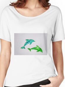 Dolphins in green Women's Relaxed Fit T-Shirt