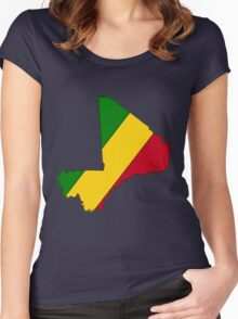 Mali Map With Malian Flag Women's Fitted Scoop T-Shirt