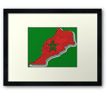 Morocco Map With Moroccan Flag Framed Print