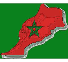 Morocco Map With Moroccan Flag Photographic Print